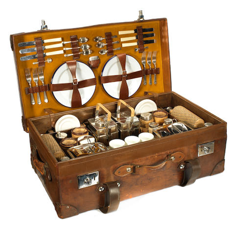 A six-person picnic set by Scott & Sons, circa 1920,