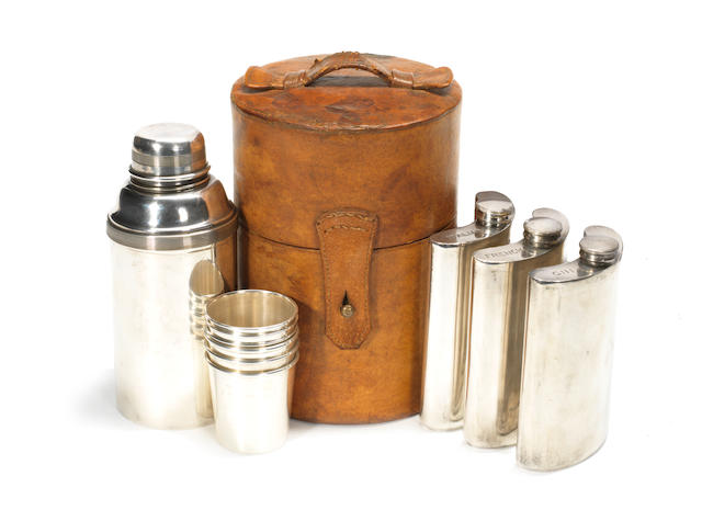 A leather-cased travelling cocktail set, for six persons, by James Dixon, British,