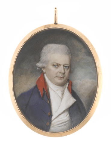 George Place (Irish, died 1805) A Gentleman, wearing blue coat with scarlet collar, white waistcoat, chemise, stock and cravat, his powdered wig worn en queue
