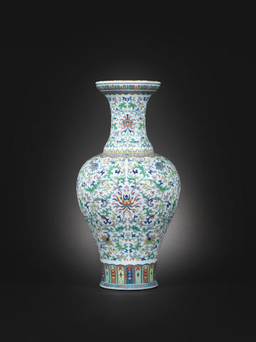 A very rare doucai and gilt baluster vase  Qianlong seal mark and of the period