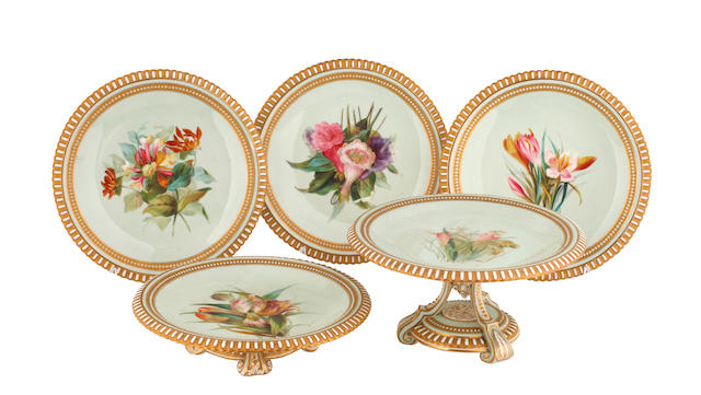 A late 19th Century Royal Worcester part dessert service