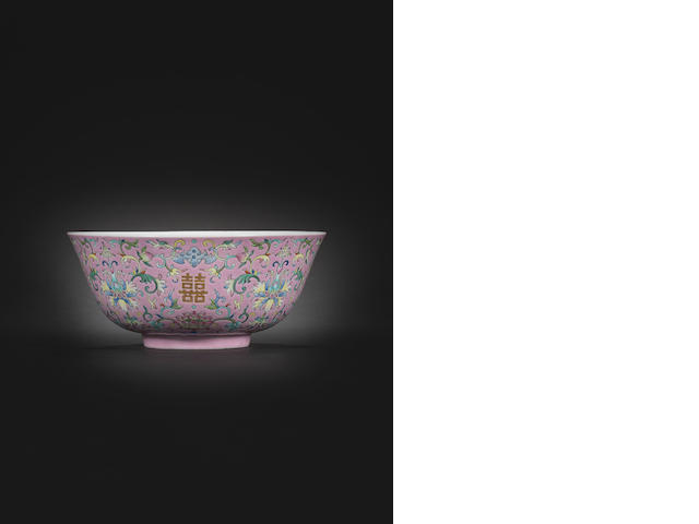 A famille rose 'marriage' bowl Daoguang seal mark and of the period 21.5cm (8½in) diam.