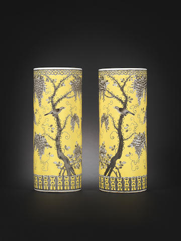 A pair of Dayazhai yellow-ground grisaille-decorated cylindrical vases Guangxu, Dayazhai three-character marks and Yong qing chang chun four-character marks