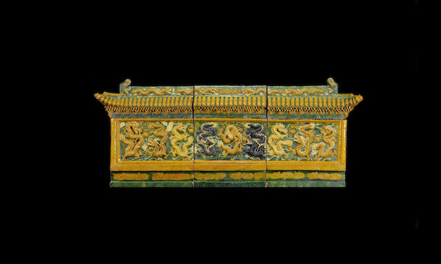 A large sancai 'nine-dragon' architectural frieze, late Ming dynasty or later