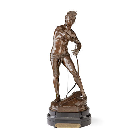 Henri Peinte, French (1845-1912) A large bronze figure of a male nude Sarpédon