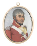 Frederick Buck (Irish, 1771-circa 1840) Two miniatures portraying Captain Edward Spread Mockler, Grenadier Company of the 46th (South Devonshire) Regiment of Foot (b. circa 1776-1837) and a Lady: the former wearing red coat with pale yellow facings and silver epaulettes, white regimental cross-belt and oval regimental breast plate numbered 46, white chemise, black stock and cravat, his hair lightly powdered; the latter, wearing white dress with capped gathered sleeves and lace trim to her décolleté, her hair upswept and curled