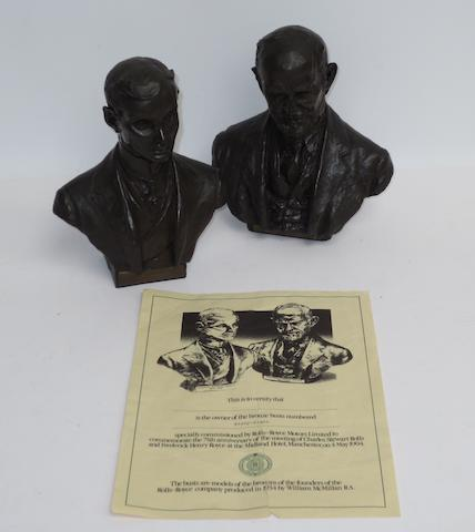 A pair of miniature cold-cast bronze busts of Charles Stewart Rolls and Frederick Henry Royce, 1979,