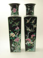 A pair of large famille noir vases 19th century, marked with a ribbon tied artemesia leaf