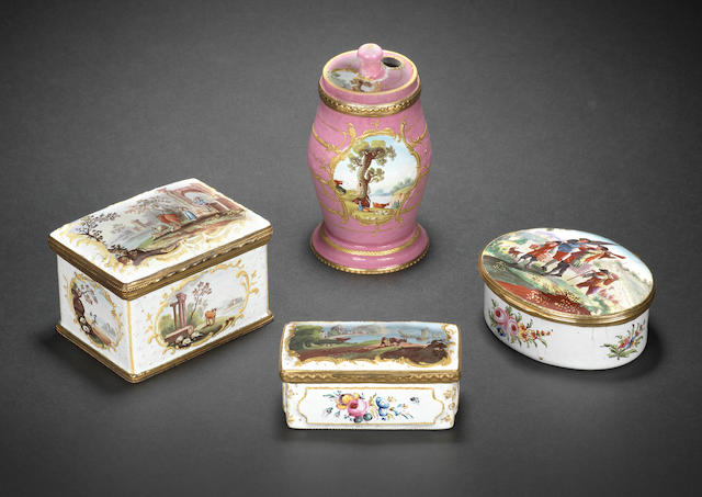 Three South Staffordshire enamel snuff boxes and a dry mustard pot, circa 1765-75