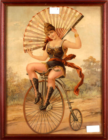 English School, 19th Century Ladies Riding Bicycles three colour reproductions, 50.5 x 40cm (20 x 15in)(3)