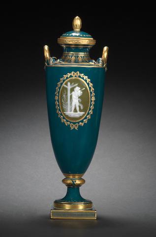 A Minton pâte-sur-pâte vase and cover by Alboin Birks, circa 1900