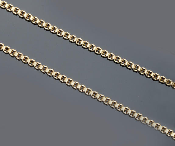 A 9ct gold belcher-link necklace