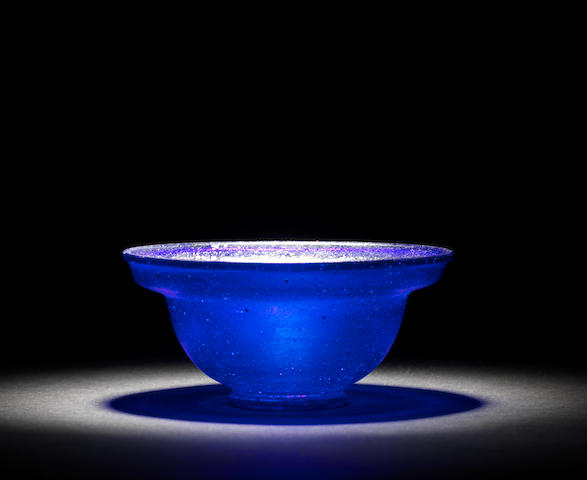 A Roman cobalt blue glass patella cup