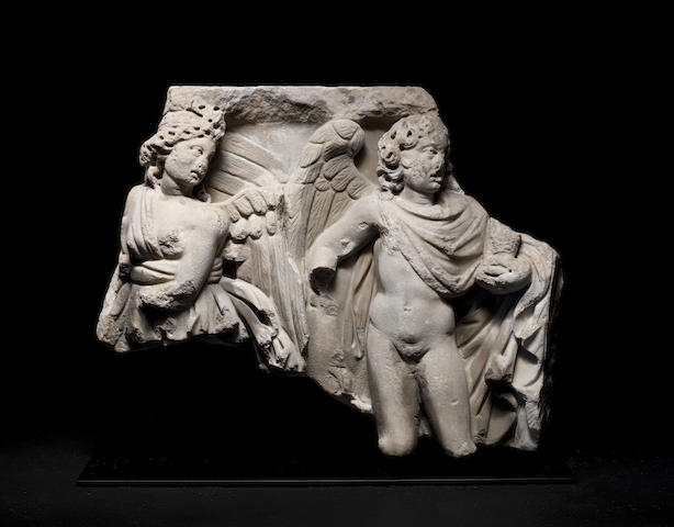 A Roman marble sarcophagus relief fragment