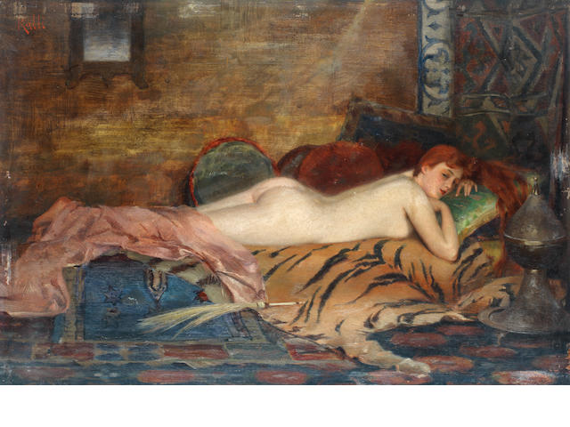 Théodore Jacques Ralli (Greek, 1852-1909) Reclining Nude 24 x 35 cm.