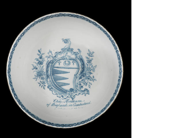 An English delftware armorial bowl, circa 1750-70