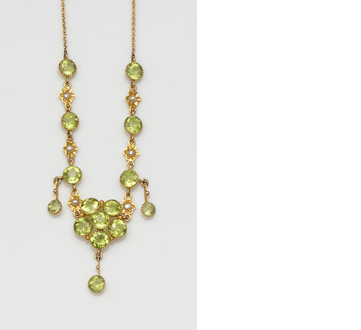 Murrle Bennett & Co: A peridot and seed pearl necklace