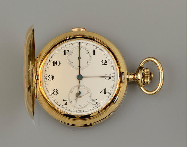 A chronograph hunter pocket watch