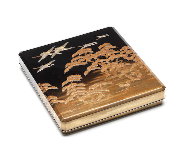 A lacquer suzuribako (writing box) and cover Late 19th century
