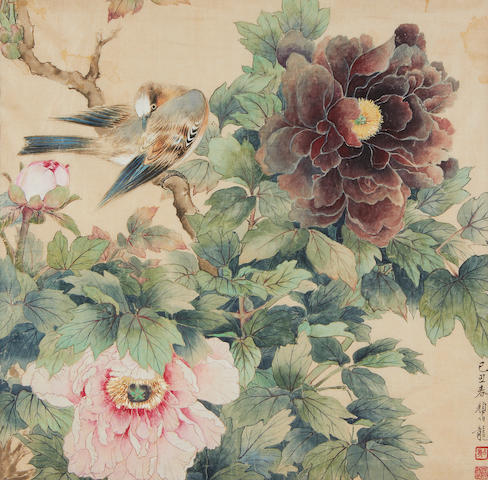 Birds and Peony by Yan Bolong (1898-1954) dated 1949
