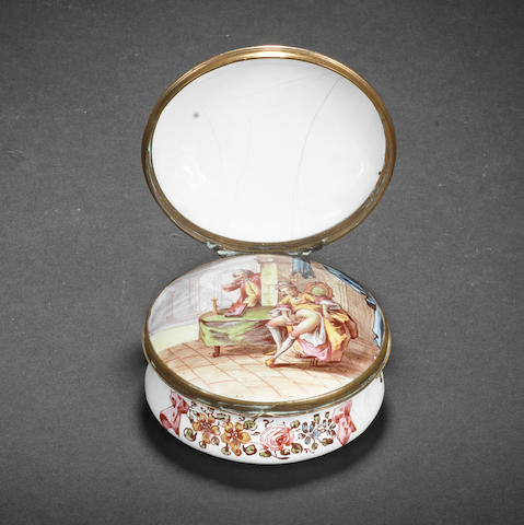 A Birmingham or South Staffordshire enamel erotic double-lidded snuff box, circa 1755-60