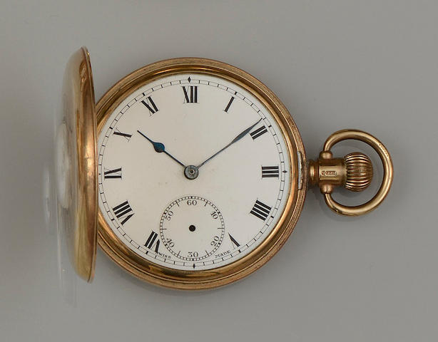 A 9ct gold half hunter pocket watch