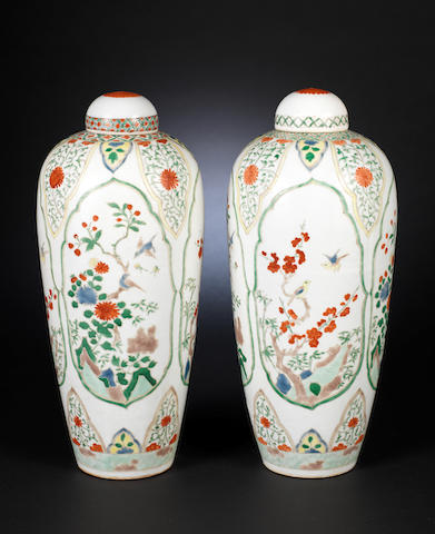 A pair of famille verte, tapering oviform vases