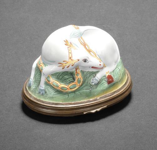 A Birmingham or South Staffordshire enamel Hart bonbonnière, circa 1760-70