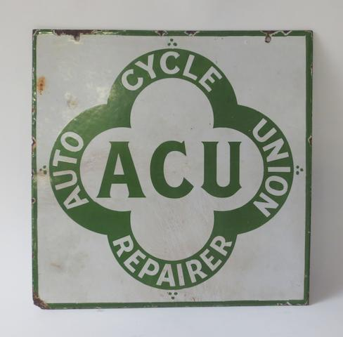 An 'Auto Cycle Union Repairer' double-sided enamel sign,