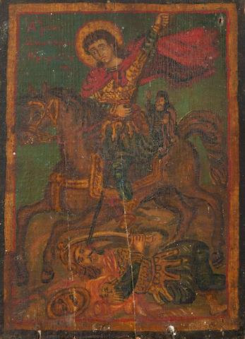 Theofilos Hadjimichail  (Greek, 1867-1934) Saint Demetrius 27 x 19.8 cm.