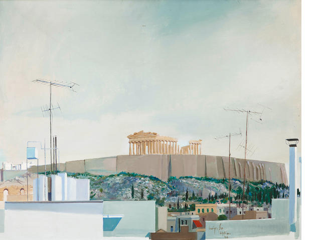 Spyros Vassiliou (Greek, 1902/3-1984) View of the Acropolis 73 x 92 cm.