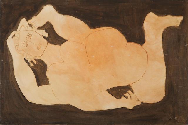 Nikos Nikolaou (Greek, 1909-1986) Nude 63.5 x 95 cm.