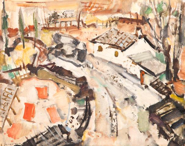 Yiannis Spyropoulos (Greek, 1912-1990) Greek village 40.6 x 50.6 cm.