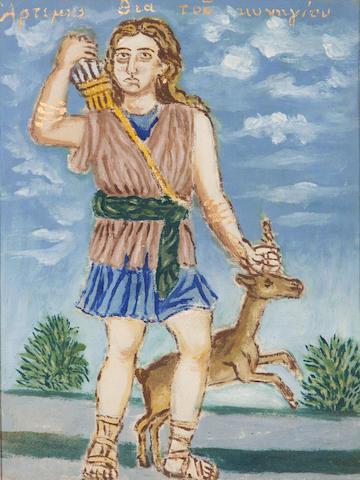 Theofilos Hadjimichail  (Greek, 1867-1934) Artemis, the hunting goddess 40 x 30 cm.