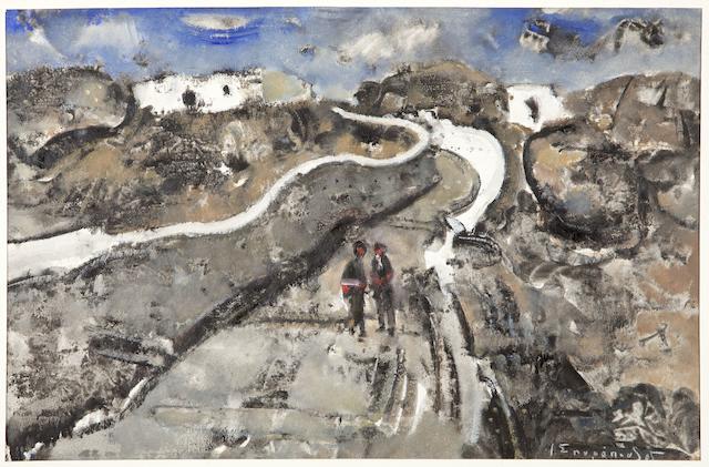 Yiannis Spyropoulos (Greek, 1912-1990) Street in Mykonos 31 x 48 cm.