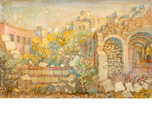 Nikos Hadjikyriakos-Ghika (Greek, 1906-1994) Ruined church 36 x 56 cm.