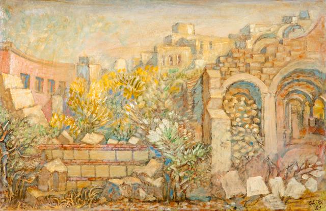 Nikos Hadjikyriakos-Ghika (Greek, 1906-1994) Ruined church 36 x 56 cm.