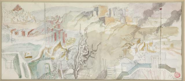 Nikos Hadjikyriakos-Ghika (Greek, 1906-1994) View of Athens 21 x 48 cm.