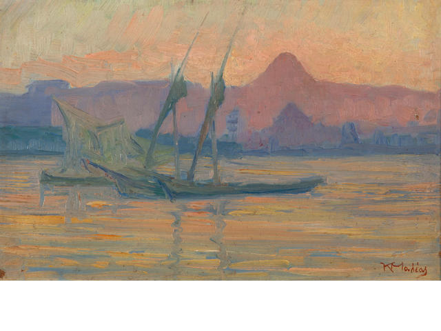 Constantinos Maleas (Greek, 1879-1928) Boats on the Nile 26 x 40 cm.