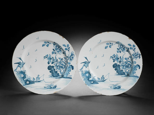 An interesting pair of Bristol delftware dishes, circa 1750