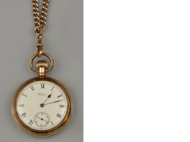 A 9ct gold Albert chain and a rolled gold pocket watch (2)