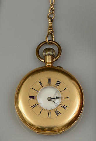 A half hunter pocket watch and fancy-link chain  (2)
