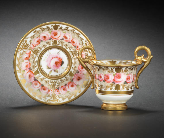 A fine Nantgarw cabinet cup and stand, circa 1818-20