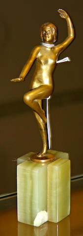 Otto Hafenrichter a Gilt-Bronze Model of a Dancing Girl, circa 1925