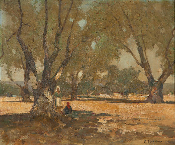 Michalis Economou (Greek, 1888-1933) Resting under the olive tree 54 x 65 cm.