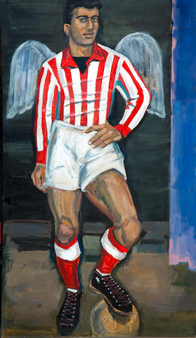 Yiannis Tsarouchis (Greek, 1910-1989) Olympiacos football player with wings of victory 120 x 70 cm.