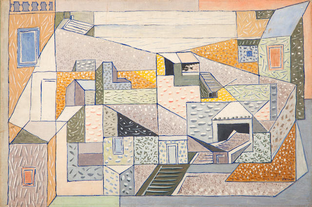 Nikos Hadjikyriakos-Ghika (Greek, 1906-1994) Composed houses, Hydra, 1939 40 x 60 cm.