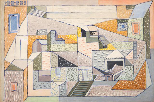 Nikos Hadjikyriakos-Ghika (Greek, 1906-1994) Composed houses, Hydra, 1939 40 x 60 cm.