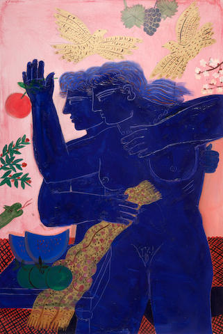 Alecos Fassianos (Greek, born 1935) Adam and Eve / Le nouveau Paradis 146 x 97 cm.