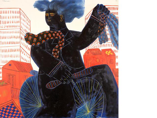 Alecos Fassianos (Greek, born 1935) Cyclist 120 x 120 cm.